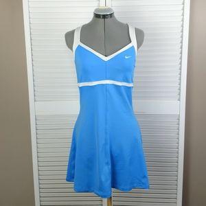 Nike Dri-Fit Border mesh tennis dress blue white M